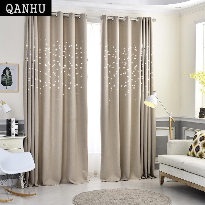 Acheter Qanhu Moderne étoiles Rideaux De Fenêtre Pour Salon Qualité