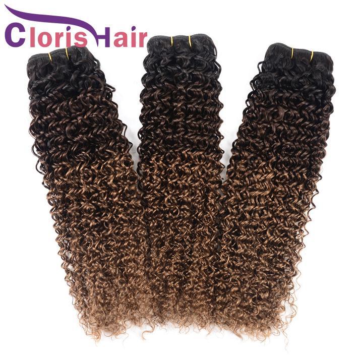 Kinky Curly Cabelo Humano Bundles Malaio Virgem Loira Ombre Tece Colorido Três Tom 1B 4 30 Bouncy Curly Ombre Cabelo Extensões de 12-24 Polegada