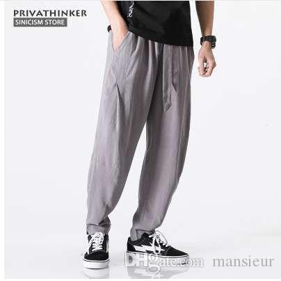 5b1fc21ccc3 2019 Sinicism Store Size Plus 5XL Cotton Linen Harem Pants Men Belt Jogger  Pants Male Trousers Chinese Traditional Cloths From Mansieur