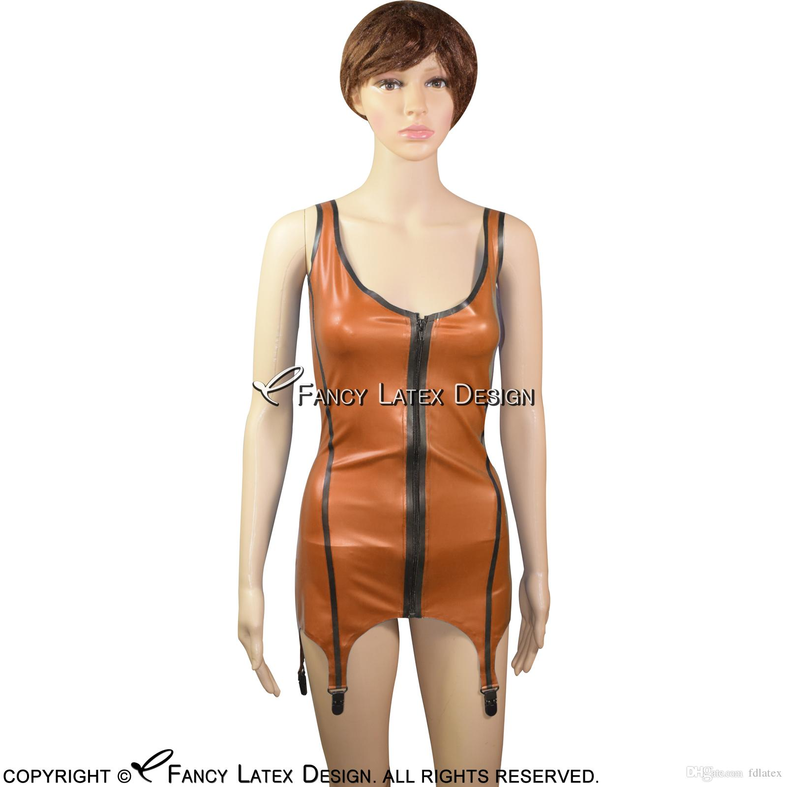 de4fe5c8366 Sexy Latex Top Tank Shirt Rubber Undershirts Top Singlet With Garters  Backless And Front Zipper YF 0034 Lace Panties And Bras Bustiers And  Corsets From ...