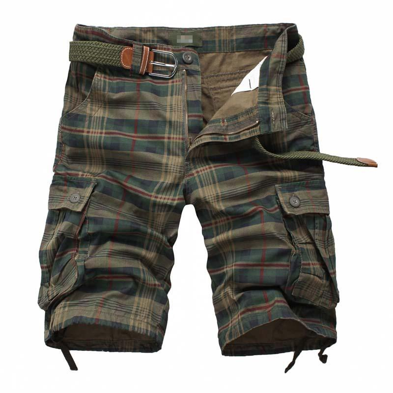 c029f4713f New Men's Cotton Cargo Shorts Good Quality Multi-pocket Pant Plaid Tooling  Shorts Male Outdoors Casual Shorts