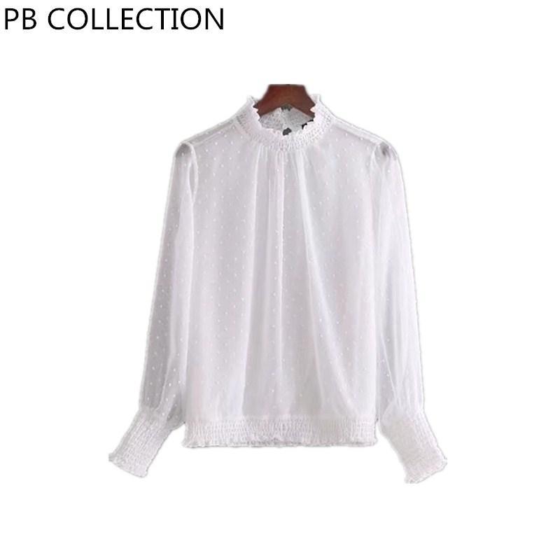 Großhandel Frauen Weiß Chiffon Polka Dot Stehkragen Bluse Shirt Elastische  Kragen Manschette Saum Damen Basic Top Langarm Ropa Mujer Blusas Von  Cailey, ... f0b9ddcb74