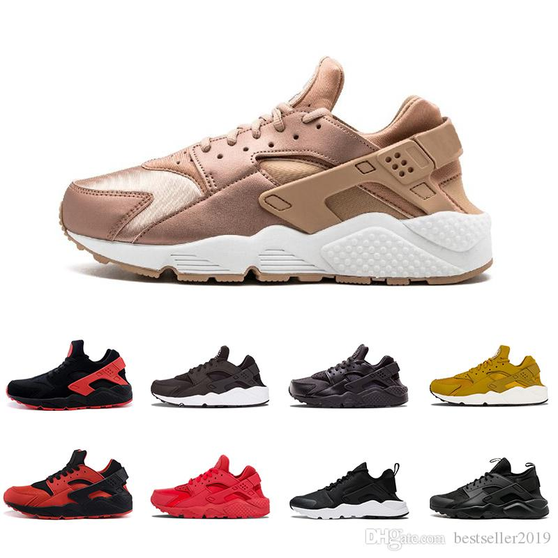 998cd3c56196 2018 Rose Gold Air Huarache 1.0 IV Classical Triple White Black Huarache  Shoes Men Womens Huaraches Sports Sneakers Running Shoes 36 45 Ladies  Running Shoes ...