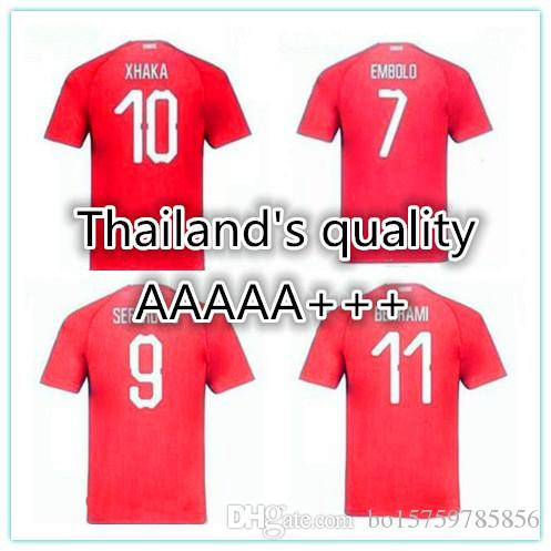 14c06db1b 2019 2018 World Cup Switzerland Soccer Jersey Home Away Thai Quality EMBOLO  XHAKA RODRIGUEZ ZAKARIA SHAQIRI National Team Jerseys Football Shirts From  ...