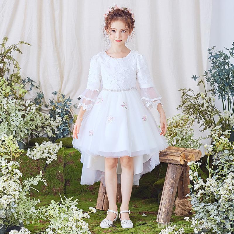 d450e2e61aa7e Acheter Nouvelle Fille De Fleur Robes Robe De Communion Blanche Pour Grande  Fille Manches Longues Une Ligne Pas Cher Enfants Princesse Robe De Soirée  De ...
