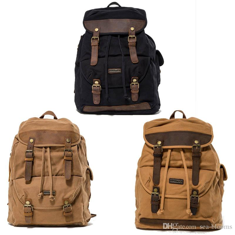 Business Daypack Canvas Laptop Backpack Unisex Vintage Leather ... f78b3b78e0595