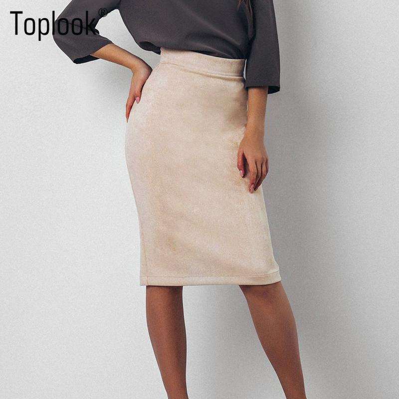 26f7b9d50e 2019 Wholesale Toplook Split Vintage Suede Bodycon Skirt High Waist Women  Knee Length Pencil Skirt Solid OL Office Elegant Skirts Womens 2017 From  Longmian, ...