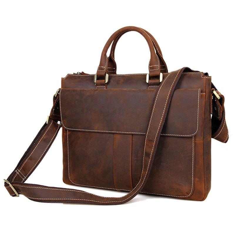 d005f71ec0 Acquista Augus New Style Genuine Crazy Horse Leather Fashion Brown  Briefcase Borsa A Tracolla Messenger Bag Uomo 7113R A $202.48 Dal  Universe222   DHgate.