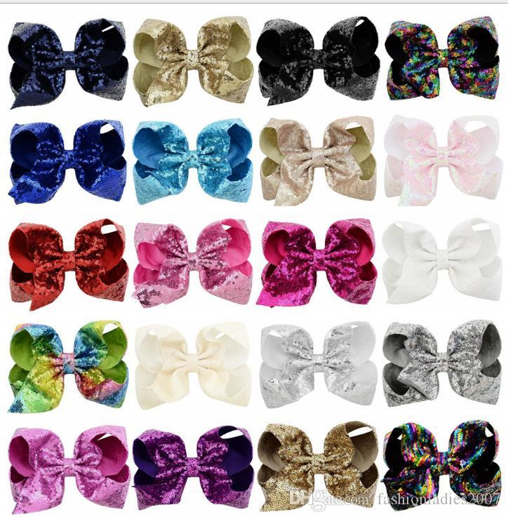 8 Inch Rhinestone Hair Bow Jojo Bows With Clip For Baby Children girls Large Sequin Bow Unicorn Bow Mermaid 6 Styles Factory Price
