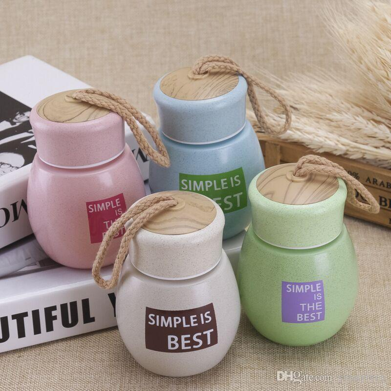Letter Cartoon Glass Bottle With Rope Cute Creative Cartoon Bottle Milk Coffee Tea Bottle For Hiking/Climbing/Touring LZ1241
