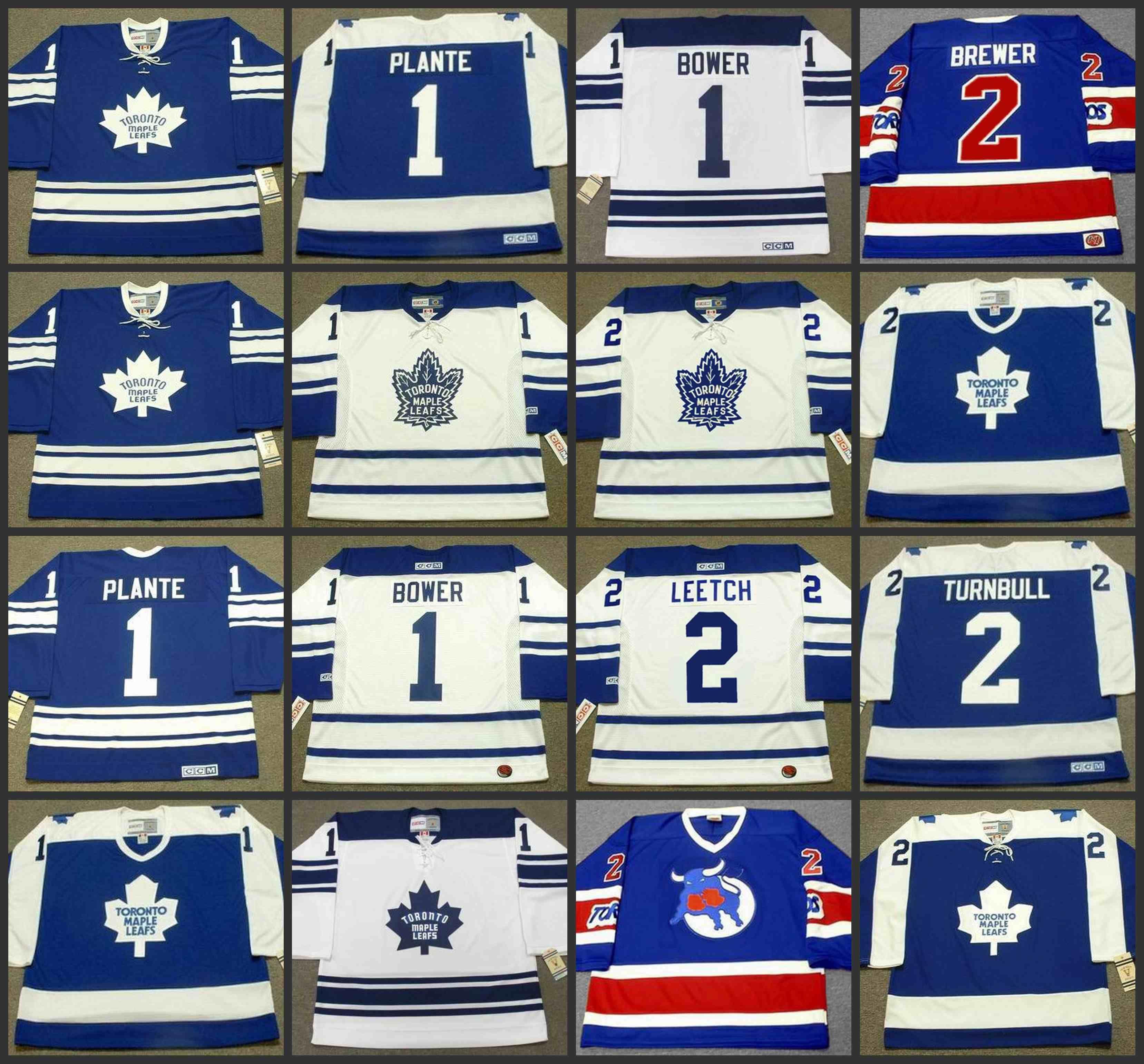 new style 7c225 a55c7 1 JACQUES PLANTE 1 JOHNNY BOWERT 2 BRIAN LEETCH 2 IAN TURNBULL toronto  Maple Leafs 1970 CCM Vintage NHL Hockey Jersey
