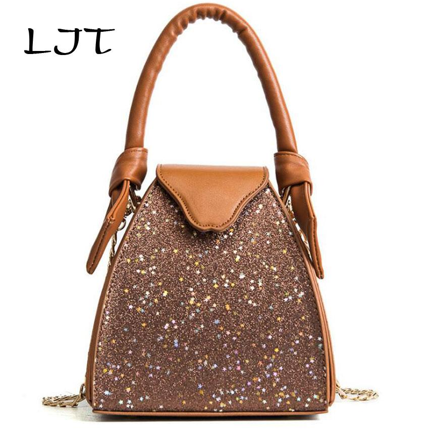 73a12b4f2ecf LJT Women S Bag 2018 Spring Hot Sale Ladies Portable Sequined Bucket Bag  Female Personalized Chain Crossbody Clutch Purse Leather Purse Womens  Purses From ...
