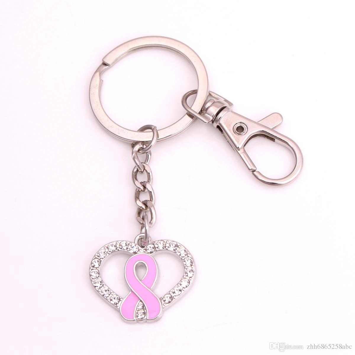 Aşk Pembe Meme Kanseri Bilezikler Farkındalık Şerit Charms Kristal Kalp Kadınlar Için Tıbbi Uyarısı anahtarlık Takı