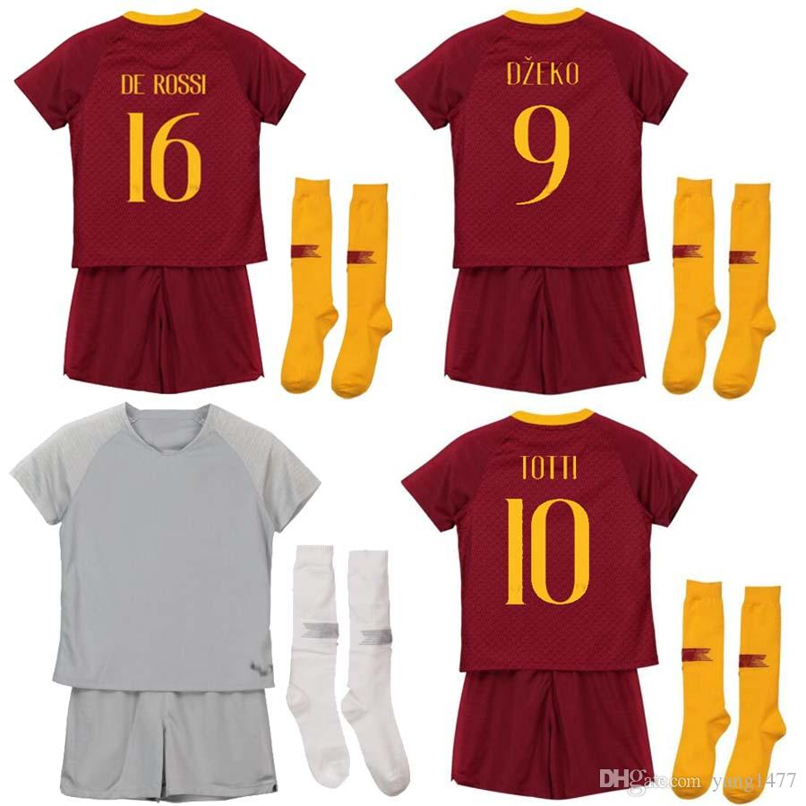 the best attitude 4f982 1b3a5 2018 2019 DZEKO PEROTTI PASTORE kids soccer jerseys 18 19 TOTTI DE ROSSI  JESUS AS ROMA kids football shirt Camiseta EL SHAARAWY rome