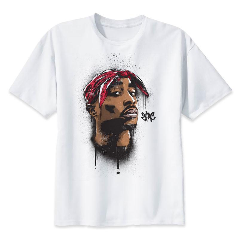 50e5c7bf18a52 Compre 2pac Camiseta Makaveli Tupac Camiseta Rapero Snoop Dogg Biggie  Smalls The Game Eminem J Cole Jay Z Savage Hip Hop Rap Música Tops A  30.81  Del ...
