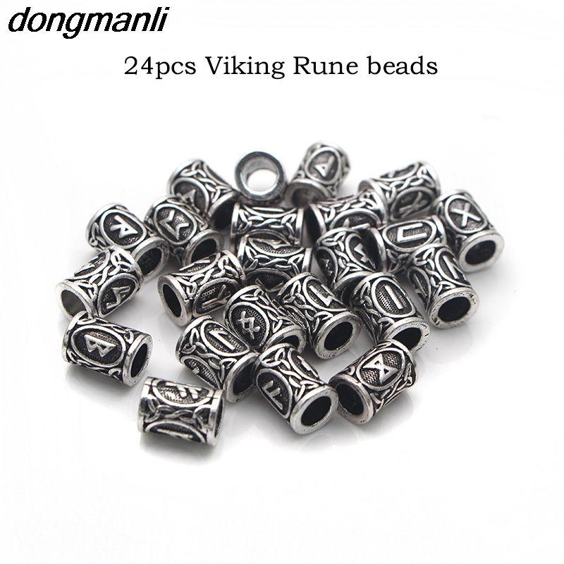 24pcs Norse Viking Runes Beads for Bracelets //Pendant Necklace//Beard//Hair