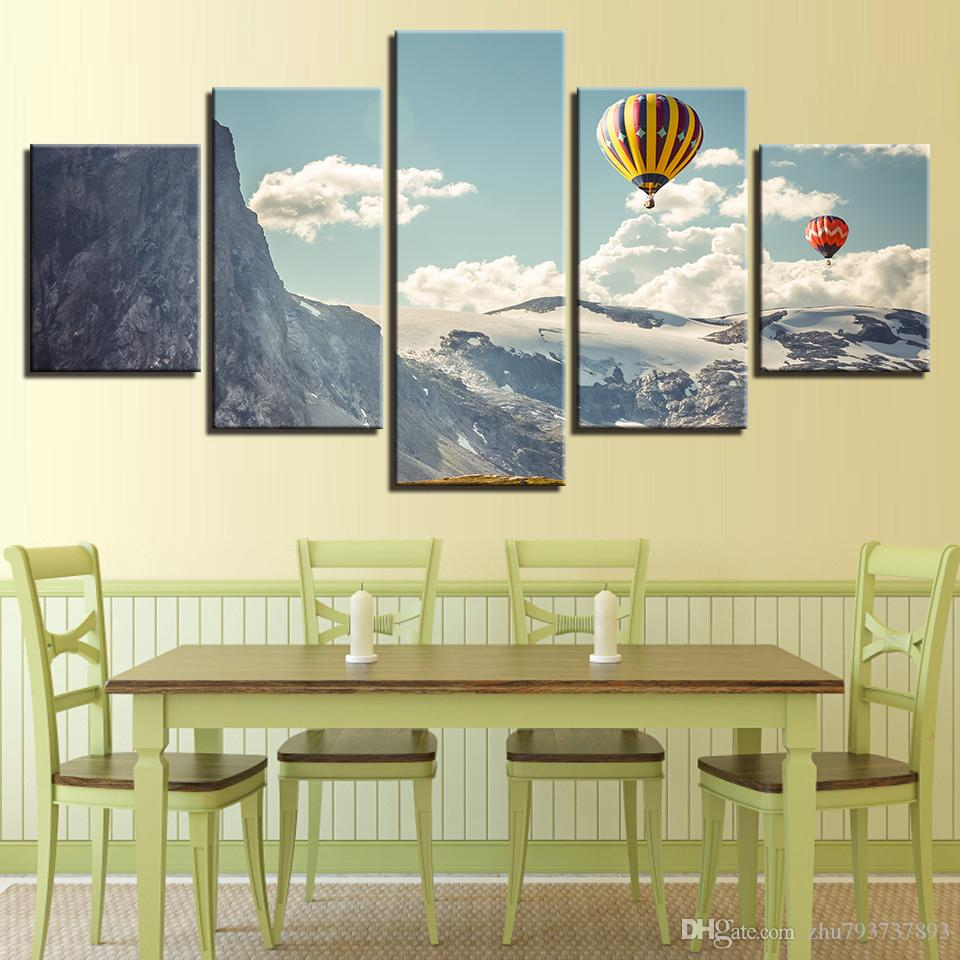 2018 Hd Prints Pictures Snow Mountain Hot Air Balloon Landscape ...