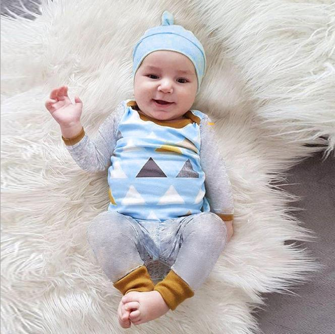 324f1a604193a Autumn 2018 Newborn Baby Boy Clothes long Sleeve Cotton Geometric T-shirt  Tops +Pant 3PCS Outfit Toddler Kids Clothing