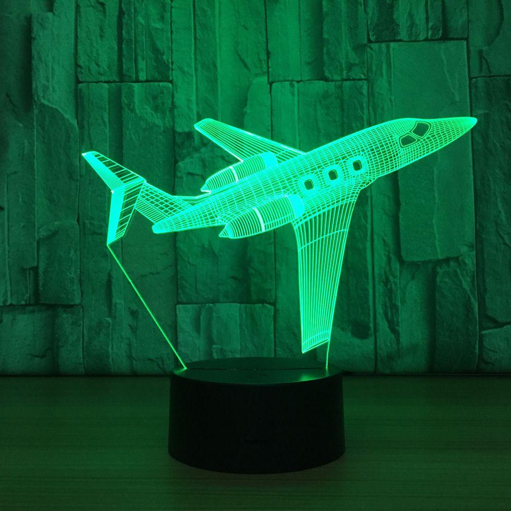 Airplane 3D LED Optical Illusion Lamp Night Light DC 5V USB Charging AA Battery Wholesale Dropshipp