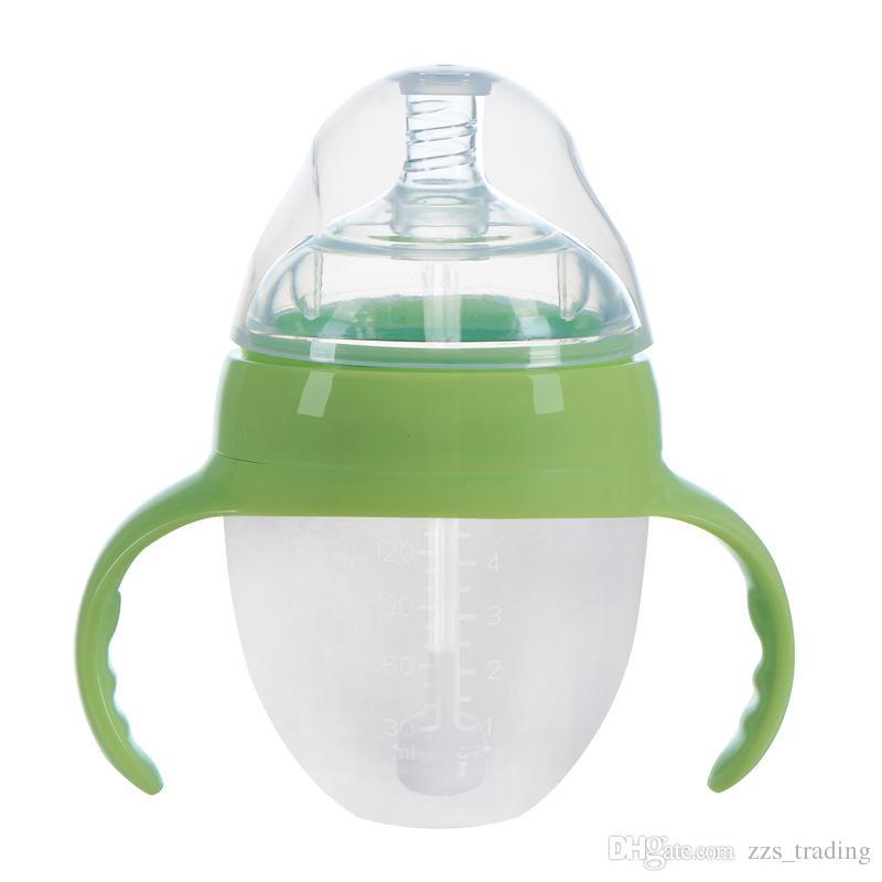 hasta el minuto Safty Silicone 150ml Recién nacido bebé formación biberón infantil Nipple Juice / botellas de agua.