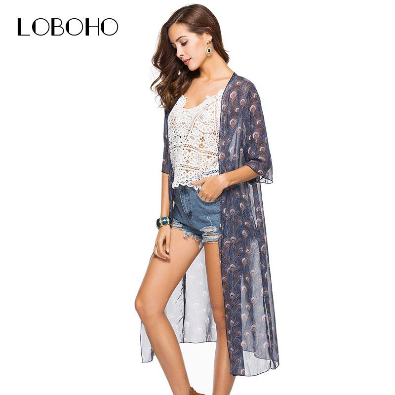 37f26f2fd09cd4 2019 Boho Style Long Kimono Chiffon Blouse Summer 2018 New Arrival Floral  Print Kimonos For Women Tops Casual Cardigan With Sleeve From Yujiu, ...