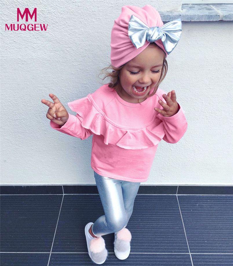 030d1e50da Compre Criança Infantil Do Bebê Meninas Roupas Rosa Manga Longa Blusa Camisa  Tops + Calças De Prata Bling + Chapéu Moda Roupas Conjuntos De Sightly