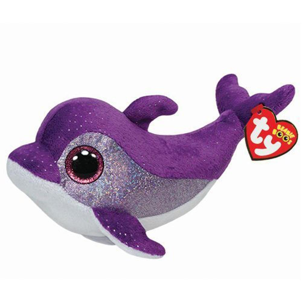 "Pyoopeo Ty Beanie Boos 6"" 15cm Flips the Purple Dolphin Plush Regular Soft Stuffed Animal Collection Doll Toy with Heart Tag"