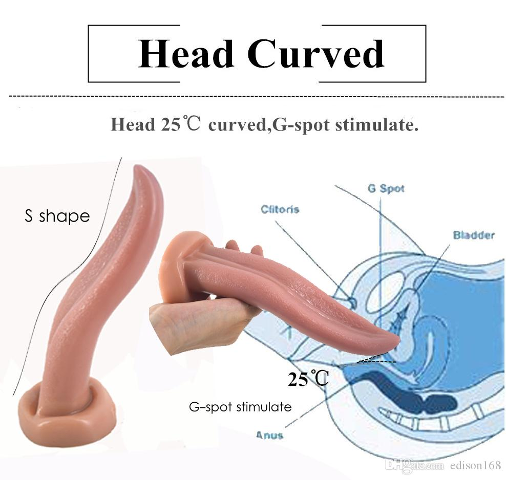 2018 Soft Dildo Artificial Realistic Tongue Vagina Anal Plug Anus G Spot Stimulate Masturbation Product For Women Men Adult Bondage Sex Toy