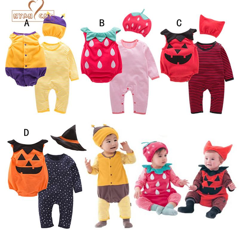 6d874c1d396a 2019 NYAN CAT Halloween Baby Costume Pumpkin Strawberry Bee Clothing Set  Hat+Romper+Bodysuit Infant Toddler Boys Girls Clothes From Bdshop