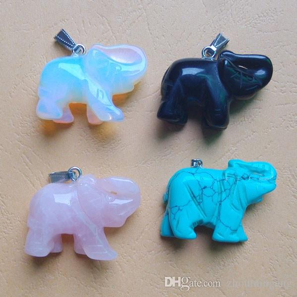 hot sale Assorted Carved Mixed natural opal stone elephant pendants malachite charms for jewelry making