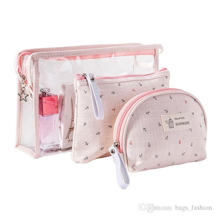 4fff2a025fee 3 Set Casual Women Boat Anchor Travel Cosmetic Bag PVC Leather Zipper Make  Up Transparent Makeup Case Organizer Storage Pouch Toiletry Bags