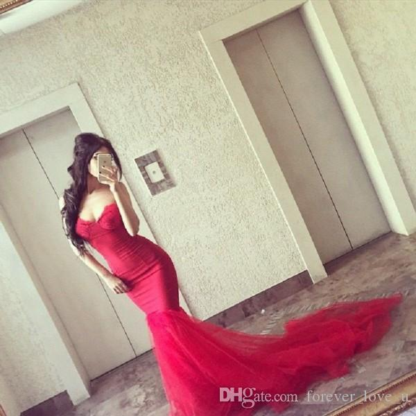 Elegant Long Fitted Mermaid Prom Dresses Sweetheart Sleeveless Open Back Lace Appliques Soft Tulle Skirt Evening Party Gowns with Train