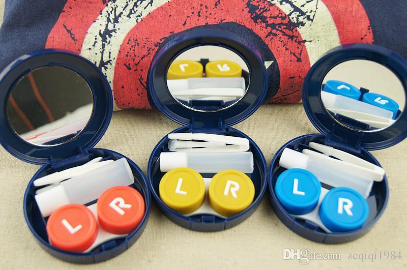 Caja caliente de la lente de contacto de la medalla de la venta con la caja plástica de las lentes de contacto del espejo con la caja cosmética de las pinzas