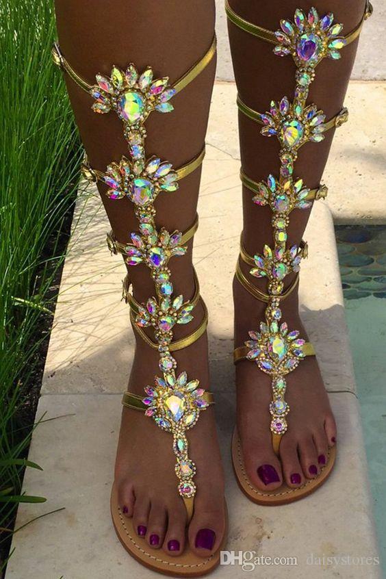 Mujeres sandalias de cristal 2017 de la moda zapatos de mujer de verano Chanclas sandalias de diamantes de imitación gladiador sandalias zapatos de mujer más el tamaño 34-43