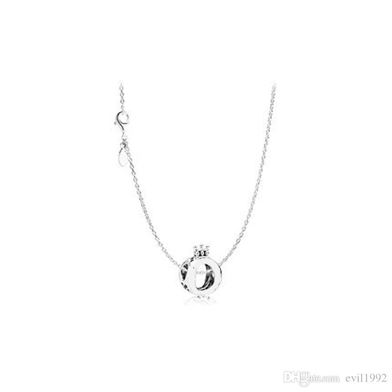 a84962b30 1pcs Alloy Crown Pendant Necklace with LOGO Fits pandora 45cm+8cm Chain  Women Female Birthday Chirstmas Gift N002