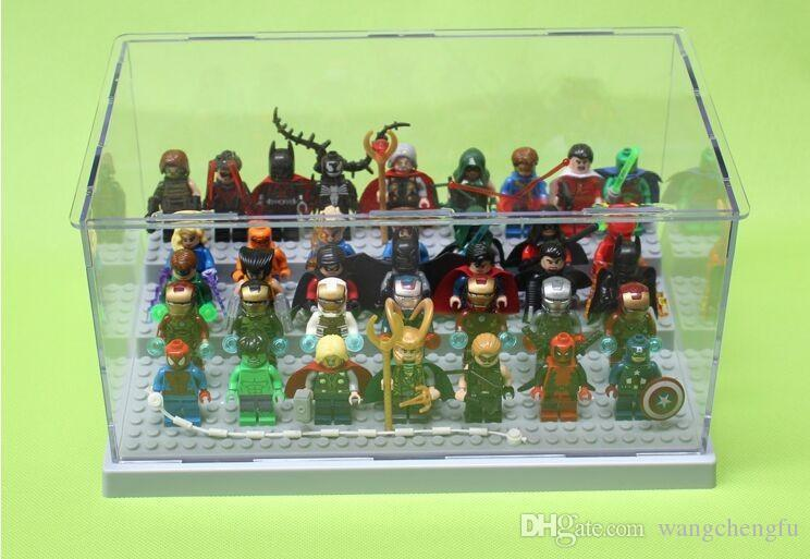 hot Building Block Parts Super Heroes Avengers Minifigures Acrylic Display Box Minifigure Showcase Ladder Cabinets Toys