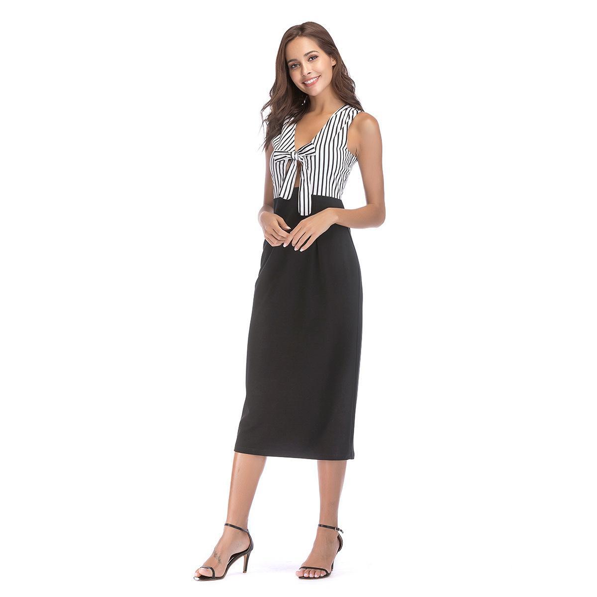 2018 Autumn New Pattern Suit Dress Dress Off Two Paper V Lead Stripe Split  Joint Pencil Skirt Knit Sundresses Dressing Style For Women From Elionbaby 22fd70b2f
