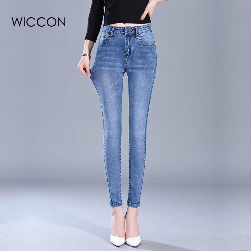 65247490b72e Heißer Verkauf elegante dünne Frau Jeans Denim schlanke Bleistift Hose  gewaschen cool hohe Taille Jeans Femme Frauen Hosen Hosen WICCON D1892501