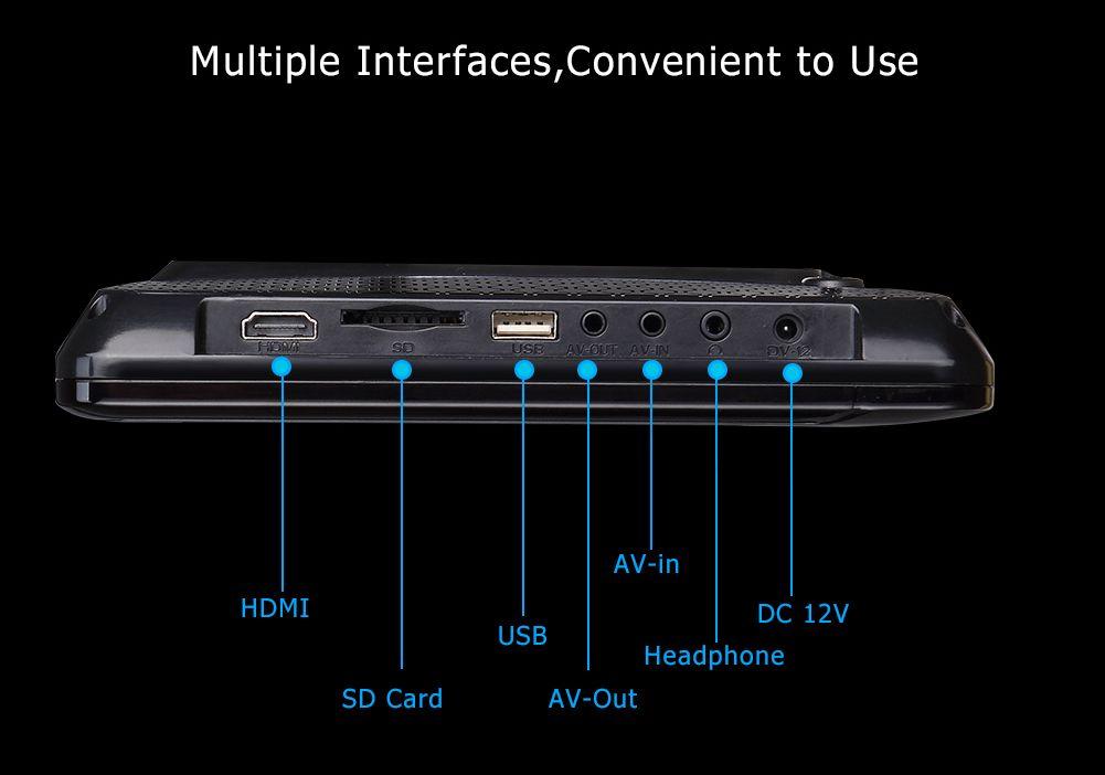 11.6 inch clip-on car dvd headrest dvd installation dvd player HD 1080P HDMI USB SD FM IR game system