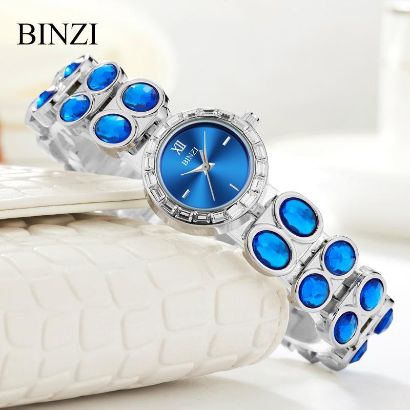 5176d7c6f8d Compre BINZI Marca De Luxo Mulheres Pulseira Relógio De Quartzo De Aço Senhoras  Relógios De Pulso De Strass Diamante Feminino Azul Relógio De Tuosu