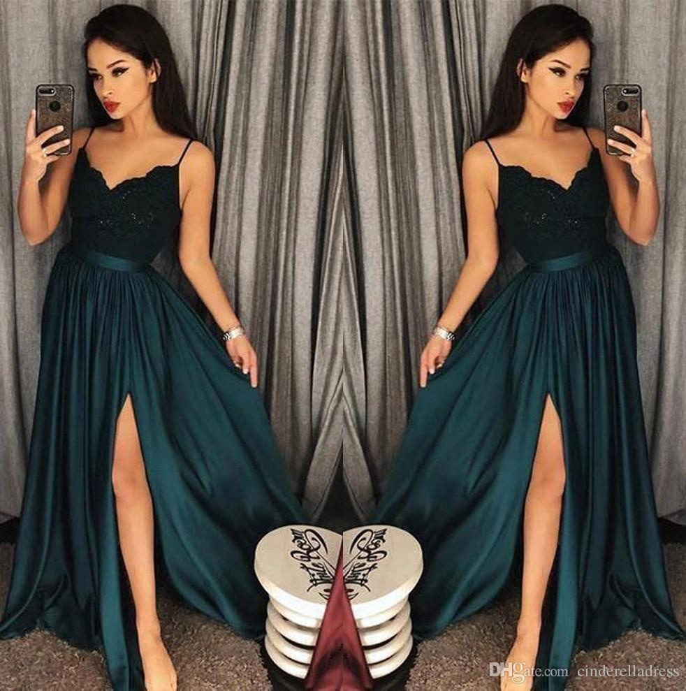 d648bc9957a2 2018 Sexy Cheap Dark Green Spaghetti Straps Satin Prom Dresses Lace Top  Split A Line Formal Party Evening Gowns Teens Prom Dresses The Perfect Prom  Dress ...