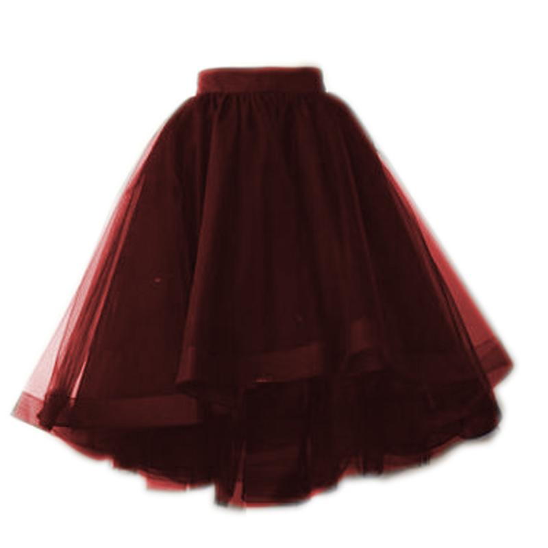 5c27e6d828 2019 Burgundy Dark Green And Black Tulle Skirts Puffy Fashion Tutu Skirt  For Women Elastic Style 5 Tulle Layers 1 Ling Summer Style From Watchlove,  ...