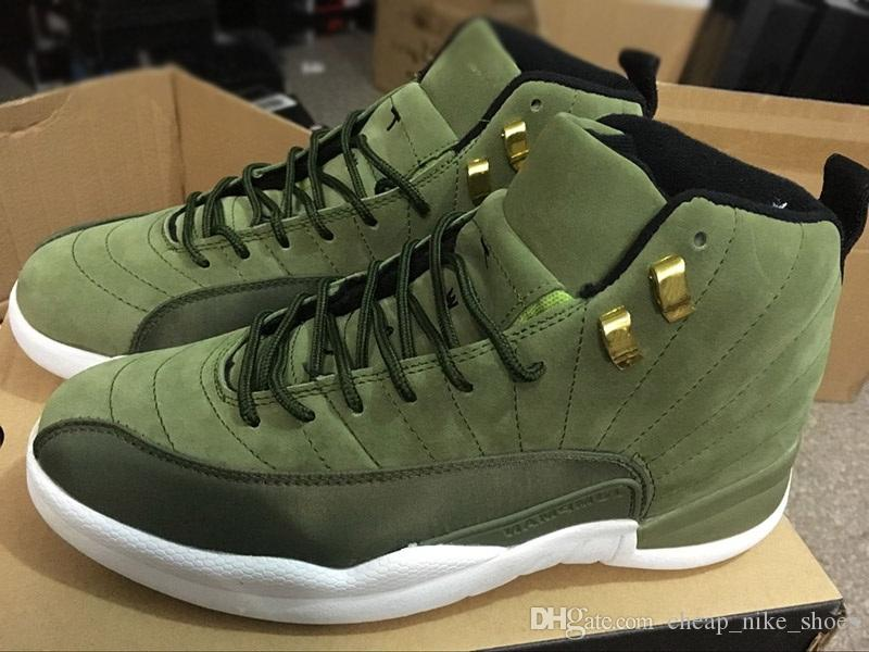 low priced 74274 04b64 Cheap 12 Chris Paul Class of 2003 Men Basketball Shoes 12s CP3 Graduation  Pack Olive Canvas Metallic Gold mens Designer Sneakers With Box