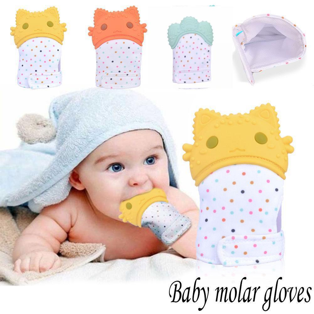 Safe Silicone Teether Gloves Baby Pacifier Toddler Nursing Us 3m Teething Glove Toys Chewable Infant Sound Mma1066