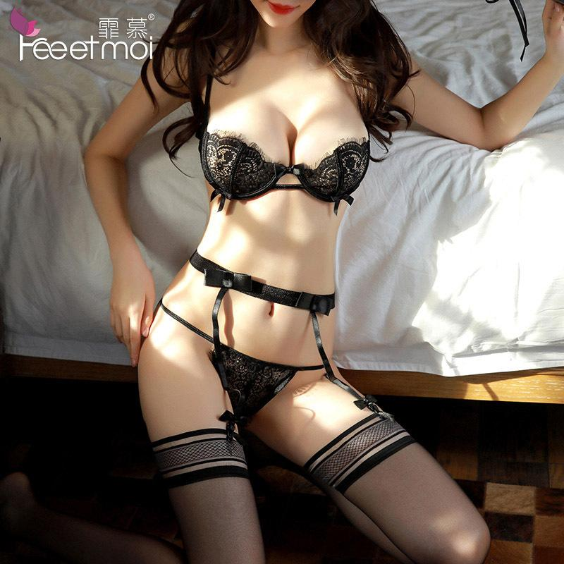 dac8ab344cf Sexy lingerie women s steel plate gather eyelash lace sexy three-point garter  set foreign trade 7714