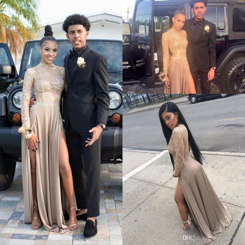 Grey Lace Chiffon Split Flowy Skirt Prom Party Dresses 2018 Sexy South African Nigerian Long Sleeve High Neck Plus Size Evening Gown