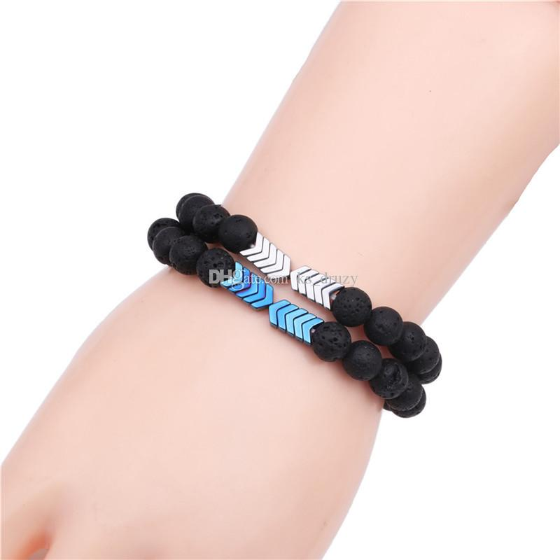 6 Colors Hematite Arrow 8mm Black Lava Stone Bracelet DIY Aromatherapy Essential Oil Diffuser Bracelet Jewelry