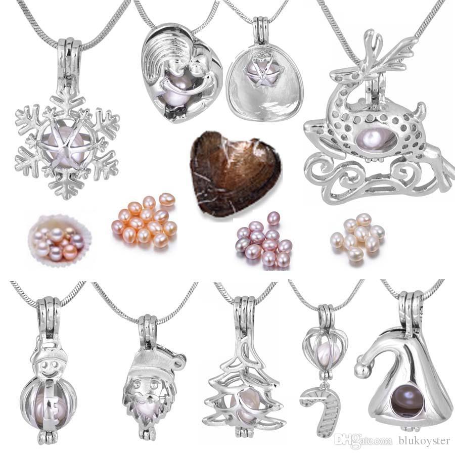 Perlenkäfig Anhänger Mutter-Tochter / Schneeflocke / Candy Cane / Christmas Deer, Hut / Schneemann Modeschmuck für Frauen Kinder Halskette + Oyster P013