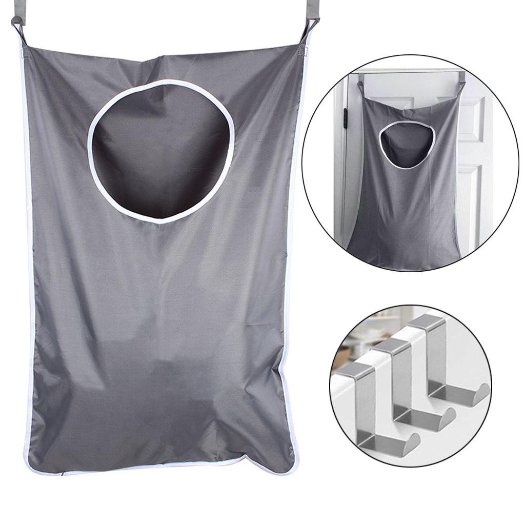 Çamaşır Nook Kapı Asılı Çamaşır Sepetleri 2 ADET Paslanmaz Çelik Kancalar ve Vantuzlu Koyu Gri Uzay Tasarrufu