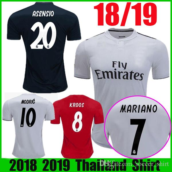 2019 MARIANO 18 19 Home MODRIC ISCO RAMOS Soccer Jersey 2019 Real Madrid  Away Third Red KROOS ASENSIO BALE Camiseta Maillot Football Shirts From ... a77d477dc